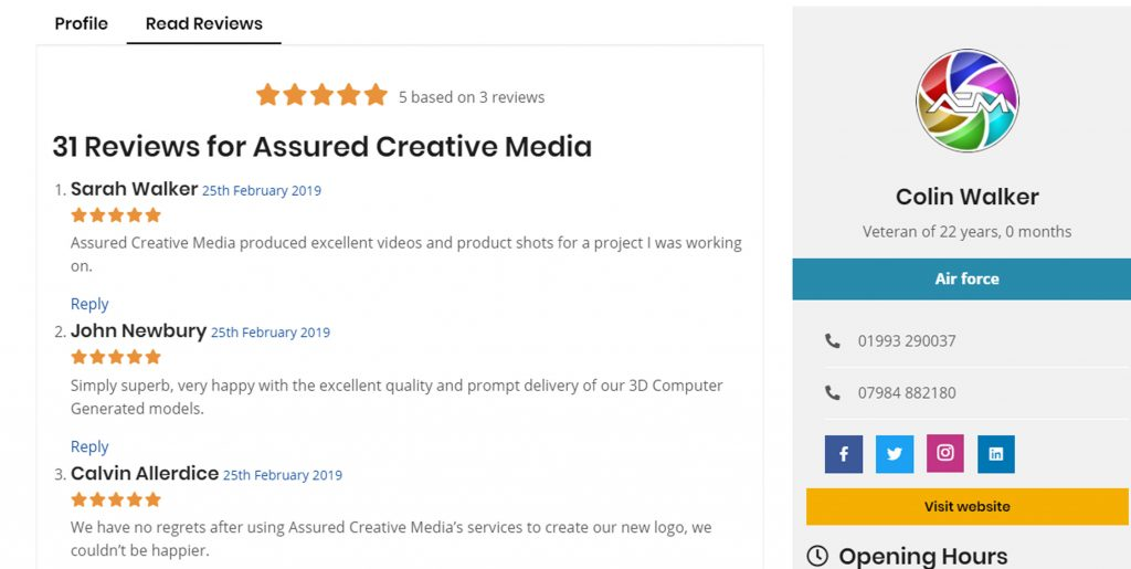 "Screenshot of Assured Creative Media's profile on the ""Read Reviews"" tab"